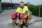 Maurice Enright of Sera Husky Animal Centre highlighting that animals should not be given as Christmas gifts as Maurice stands with Mumbles the Lurcher who is recovering from injuries