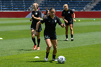 BRIDGEVIEW, IL - JUNE 5: Vanessa DiBernardo #10 of the Chicago Red Stars warms up before a game between North Carolina Courage and Chicago Red Stars at SeatGeek Stadium on June 5, 2021 in Bridgeview, Illinois.