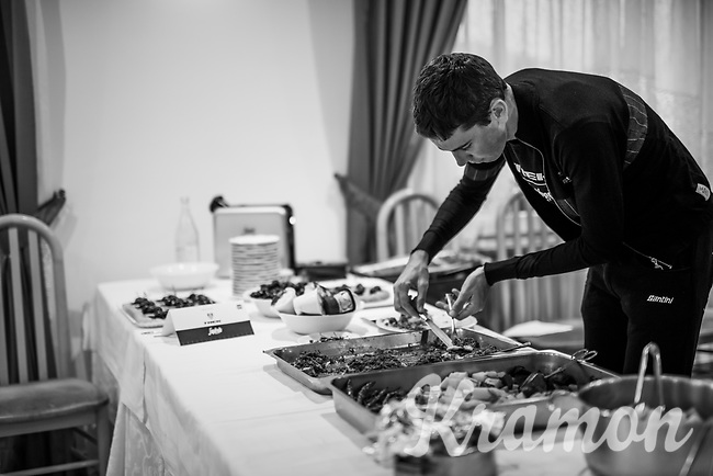 Laurent Didier (LUX/Trek-Segafredo) during dinner (eating specifically prepped food) in the team hotel on the 3rd Giro restday <br /> <br /> 101th Giro d'Italia 2018