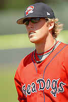 Lars Anderson of the Portland Sea Dogs at Hadlock Field in Portland, ME, Sunday August 17, 2008. (Photo by Ken Babbitt / Four Seam Images)