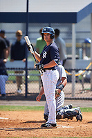 New York Yankees Mandy Alvarez (47) at bat during a minor league Spring Training game against the Detroit Tigers on March 22, 2017 at the Yankees Complex in Tampa, Florida.  (Mike Janes/Four Seam Images)