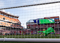 CLEVELAND, OH - JUNE 22: Luis Mejia #1 dives in the wrong direction to save a penalty kick during a game between Panama and Guyana at FirstEnergy Stadium on June 22, 2019 in Cleveland, Ohio.