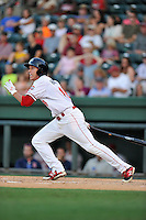 Left fielder Bryan Hudson (18) of the Greenville Drive bats in a game against the Greensboro Grasshoppers on Wednesday, August 26, 2015, at Fluor Field at the West End in Greenville, South Carolina. Greenville won, 7-0. (Tom Priddy/Four Seam Images)