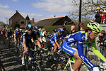 The peloton including Mathew Hayman (AUS) Sky Procycling start the Koppenberg climb during the 96th edition of The Tour of Flanders 2012, running 256.9km from Bruges to Oudenaarde, Belgium. 1st April 2012. <br /> (Photo by Steven Franzoni/NEWSFILE).