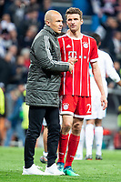Bayern Munich Arjen Robben and Thomas Mueller during Semi Finals UEFA Champions League match between Real Madrid and Bayern Munich at Santiago Bernabeu Stadium in Madrid, Spain. May 01, 2018.  *** Local Caption *** © pixathlon<br /> Contact: +49-40-22 63 02 60 , info@pixathlon.de