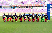 ORLANDO, FL - FEBRUARY 24: Canada lines up during their national anthem before a game between Brazil and Canada at Exploria Stadium on February 24, 2021 in Orlando, Florida.