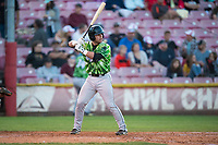 Eugene Emeralds catcher Caleb Knight (16) at bat during a Northwest League game against the Salem-Keizer Volcanoes at Volcanoes Stadium on August 31, 2018 in Keizer, Oregon. The Eugene Emeralds defeated the Salem-Keizer Volcanoes by a score of 7-3. (Zachary Lucy/Four Seam Images)