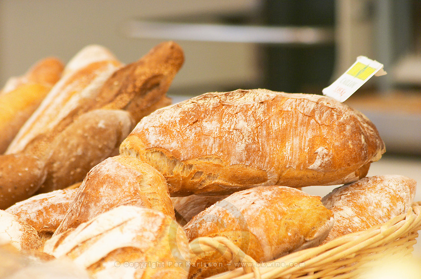 Loaf of newly baked bread sprinkled with flour in a bakery Le Brusc Six Fours Var Cote d'Azur France