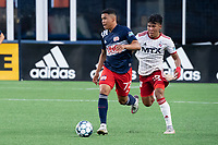 FOXBOROUGH, MA - JUNE 26: Damian Rivera #72 of the New England Revolution advances up the sideline during a game between North Texas SC and New England Revolution II at Gillette Stadium on June 26, 2021 in Foxborough, Massachusetts.
