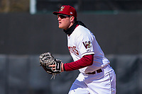 Wisconsin Timber Rattlers first baseman Pat McInerney (9) during a Midwest League game against the Beloit Snappers on April 7, 2018 at Fox Cities Stadium in Appleton, Wisconsin. Beloit defeated Wisconsin 10-1. (Brad Krause/Four Seam Images)