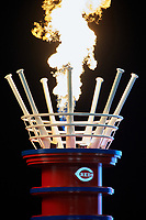 Flames shoot out of a display during the MLB All-Star Game on July 14, 2015 at Great American Ball Park in Cincinnati, Ohio.  (Mike Janes/Four Seam Images)