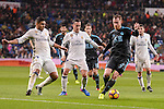 Real Madrid's Carlos Henrique Casemiro, Lucas Vazquez and Mateo Kovacic and Real Sociedad's David Zurutuza and Sergio Canalesduring La Liga match between Real Madrid and Real Sociedad at Santiago Bernabeu Stadium in Madrid, Spain. January 29, 2017. (ALTERPHOTOS/BorjaB.Hojas)