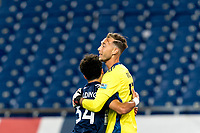 FOXBOROUGH, MA - AUGUST 26: Ryan Spaulding #34 of New England Revolution II and Joe Rice #51 of New England Revolution II celebrate a 1-0 win after a game between Greenville Triumph SC and New England Revolution II at Gillette Stadium on August 26, 2020 in Foxborough, Massachusetts.