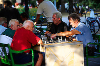 Chess players in the park, Hungary Kecskemét