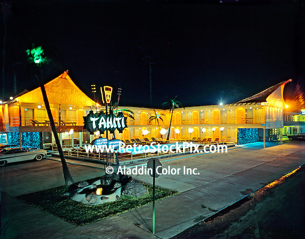 Tahiti Motel, Wildwood, NJ -  Night Exterior with tiki torches and great neon sign.