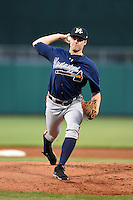 Mississippi Braves pitcher Jason Hursh (8) delivers a pitch during a game against the Montgomery Biscuits on April 21, 2014 at Riverwalk Stadium in Montgomery, Alabama.  Montgomery defeated Mississippi 6-2.  (Mike Janes/Four Seam Images)