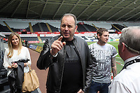 Pictured: Neville Wilshire of the Call Centre arriving. Sunday, 01 June 2014<br /> Re: Celebrities v Celebrities football game organised by Sellebrity Scoccer, in aid of Swansea City Community Trust, at the Liberty Stadium, south Wales.