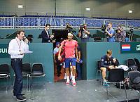 Switserland, Genève, September 16, 2015, Tennis,   Davis Cup, Switserland-Netherlands, The living legend has arrived, Roger Federer makes his apearance in the Plaxepo<br /> Photo: Tennisimages/Henk Koster