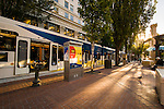 MAX light rail transit near Pioneer Courthouse Square in Portland, OR.
