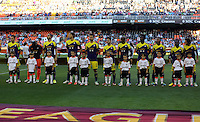 Valencia, Spain. Thursday 19 September 2013<br /> Pictured: Swansea players before kick off.<br /> Re: UEFA Europa League game against Valencia C.F v Swansea City FC, at the Estadio Mestalla, Spain,