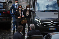 (From L to R) Mariastella Gelmini MP & Anna Maria Bernini MP (Both Forza Italia Party delegation).<br /> <br /> Rome, Italy. 09th Feb, 2021. Silvio Berlusconi, former Italian Prime Minister and President of Forza Italia Party arrives at the Italian Parliament to have a meeting with the designated Italian Prime Minister - and former President of the European Central Bank -, Mario Draghi. Today is the last day of Mario Draghi's consultations at Palazzo Montecitorio, meeting delegations of the Italian political parties in his attempt to form the new Italian Government.