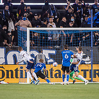 SAN JOSE, CA - MAY 01: Jackson Yueill #14 of the San Jose Earthquakes scores during a game between San Jose Earthquakes and D.C. United at PayPal Park on May 01, 2021 in San Jose, California.