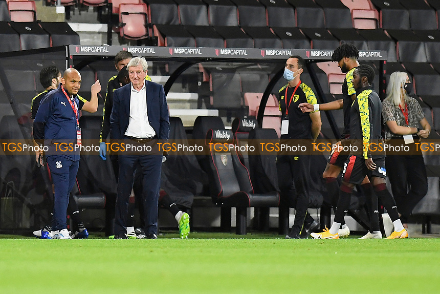 Crystal Palace ManagerRoy Hodgson (2L) looks on during the warm up during AFC Bournemouth vs Crystal Palace, Carabao Cup Football at the Vitality Stadium on 15th September 2020