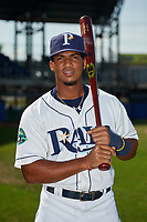 Princeton Rays shortstop Wander Franco (6) poses for a photo before the first game of a doubleheader against the Johnson City Cardinals on August 17, 2018 at Hunnicutt Field in Princeton, Virginia.  Johnson City defeated Princeton 6-4.  (Mike Janes/Four Seam Images)