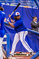 26 March 2018: Toronto Blue Jays third baseman Vladimir Guerrero Jr. takes batting practice prior to a pre-season exhibition game against the St. Louis Cardinals at Olympic Stadium in Montreal, Quebec, Canada. The Cardinals defeated the Blue Jays 5-3 in the first of two MLB Grapefruit League games, in which Guerrero Jr. made his first appearance since childhood at the former home on the Montreal Expos. Mandatory Credit: Ed Wolfstein Photo *** RAW (NEF) Image File Available ***