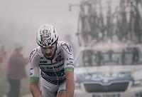Lanterne Rouge Daniel McLay (GBR/Fortuneo-Vital Concept) crossing the top of the Port de Balès (HC/1755m/11.7km/7.7%) as the last man in the race.<br /> <br /> 104th Tour de France 2017<br /> Stage 12 - Pau › Peyragudes (214km)