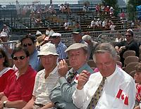 De gauche a droite : Martin Cauchon, Pierre Trudeau, Jacques, Hebert, inconnu<br />  Fete du Canada 1997<br /> <br /> <br /> PHOTO : Agence Quebec Presse