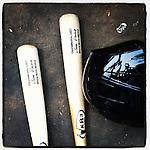 Jose Vinicio's bat and helmet. (Tom Priddy/Four Seam Images)