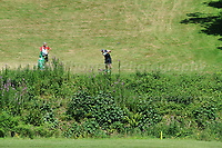 Brendan O'Carroll has some rough to clear during the Bulmers 2018 Celebrity Cup at the Celtic Manor Resort. Newport, Gwent,  Wales, on Saturday 30th June 2018<br /> <br /> <br /> Jeff Thomas Photography -  www.jaypics.photoshelter.com - <br /> e-mail swansea1001@hotmail.co.uk -<br /> Mob: 07837 386244 -