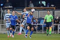 SAN JOSE, CA - MAY 22: Luciano Abecasis #2 of the San Jose Earthquakes during a game between Sporting Kansas City and San Jose Earthquakes at PayPal Park on May 22, 2021 in San Jose, California.