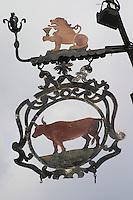 wrought iron sign restaurant au boeuf rouge andlau alsace france