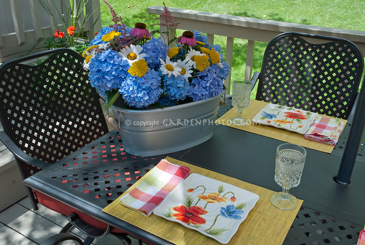 Hydrangea, daisy Leucanthemum, Achillea yarrow, Echinacea purple coneflower, Astilbe, cut flowers in galvanized container on patio table in backyard deck