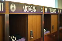 ORLANDO, FL - SEPTEMBER 11: Alex Morgan #13 of the Orlando Pride's locker name plate before a game between Racing Louisville FC and Orlando Pride at Exploria Stadium on September 11, 2021 in Orlando, Florida.