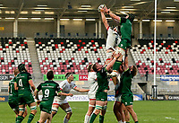 Friday 23rd April 2021; Iain Henderson steals this lineout ball from Ultan Dillane during the first round of the Guinness PRO14 Rainbow Cup between Ulster Rugby and Connacht Rugby at Kingspan Stadium, Ravenhill Park, Belfast, Northern Ireland. Photo by John Dickson/Dicksondigital