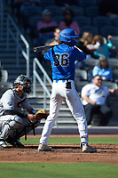 Joey Loperfido (36) of the Duke Blue Devils at bat against the Coastal Carolina Chanticleers at Segra Stadium on November 2, 2019 in Fayetteville, North Carolina. (Brian Westerholt/Four Seam Images)