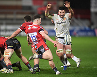 26th March 2021; Kingsholm Stadium, Gloucester, Gloucestershire, England; English Premiership Rugby, Gloucester versus Exeter Chiefs; Tom Price of Exeter Chiefs tries to charge down the kick from Charlie Chapman of Gloucester