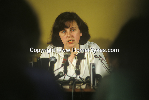 Bernadette Devlin also know as Bernadette McAliskey,  Belfast Rally and Press Conference to support the Hunger Strikers. The Trouble 1981 Northern Ireland.<br /> <br /> The Troubles Northern Ireland Bernadette Devlin 1980s