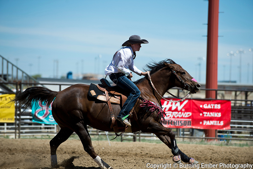 Shaylee Adamson in the Barrel Racing Event Friday 1st round event at the Wyoming State High School Finals Rodeo in Rock Springs Wyoming.  Photo by Josh Homer/Burning Ember Photography.  Photo credit must be given on all uses.