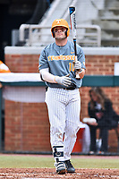 Tennessee Volunteers first baseman Pete Derkay (10) looks to the third base coach for signals during a game against the University of North Carolina Greensboro (UNCG) Spartans at Lindsey Nelson Stadium on February 24, 2018 in Knoxville, Tennessee. The Volunteers defeated Spartans 11-4. (Tony Farlow/Four Seam Images)