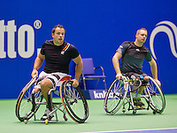 December 20, 2014, Rotterdam, Topsport Centrum, Lotto NK Tennis, Mens doubles wheelchair final, Tom Egberink (L) with his partner Maikel Scheffers<br /> Photo: Tennisimages/Henk Koster