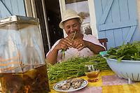 France, île de la Réunion, Chaloupe Saint-Leu,  Maximilia Vitry trie les  brèdes de chouchou pour le repas à la ferme, le rhum arrangé aux herbes est déja sur la table  //  France, Reunion island (French overseas department),Chaloupe Saint Leu, Maximilia Vitry sorts the   chayotte  brèdes for meat at the farm, the rum with herbs is already   served<br /> <br /> Auto N°: 2014-110