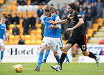 St Johnstone v Partick Thistle…19.08.17… McDiarmid Park… SPFL<br />Murray Davidson and Adam Barton<br />Picture by Graeme Hart.<br />Copyright Perthshire Picture Agency<br />Tel: 01738 623350  Mobile: 07990 594431