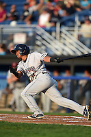 Mahoning Valley Scrappers third baseman Ordomar Valdez (11) at bat during a game against the Batavia Muckdogs on August 22, 2014 at Dwyer Stadium in Batavia, New York.  Mahoning Valley defeated Batavia 2-1.  (Mike Janes/Four Seam Images)