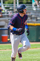 Cedar Rapids Kernels second baseman Travis Blankenhorn (7) runs to first base during a Midwest League game against the Beloit Snappers on September 3, 2017 at Pohlman Field in Beloit, Wisconsin. Beloit defeated Cedar Rapids 3-2. (Brad Krause/Four Seam Images)
