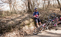 crash victims Lawson Craddock (USA/EF Education - Nippo) & Alex Howes (USA/EF Education - Nippo) by the roadside<br /> <br /> 15th Strade Bianche 2021<br /> ME (1.UWT)<br /> 1 day race from Siena to Siena (ITA/184km)<br /> <br /> ©kramon