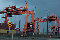 ELIZABETH, NEW JERSEY - APRIL 29 : Cranes are seen on duty carrying containers at the Elizabeth Port on April 29, 2021 in New Jersey. . (Photo by Kena Betancur/VIEWpress)